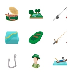 Fishing icons set cartoon style vector image