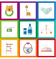 Flat icon kid set of pinafore tissue mobile and vector