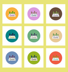 Flat icons set of column chart and gold block vector