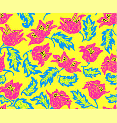 floral pattern with colorful flowers vector image