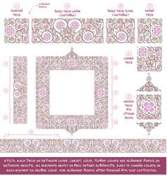 Flower decorative ornaments building kit - lilac vector
