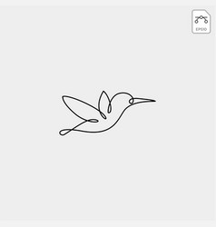 flying humming bird line art logo template icon vector image