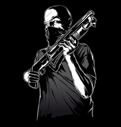 gang member with gun vector image