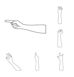 Gestures and their meaning outline icons in set vector