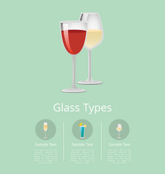 Glass types advertising poster with glassware icon vector