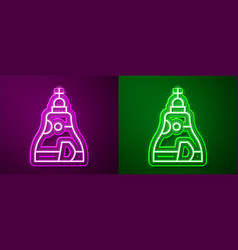 Glowing neon line the tsar bell in moscow monument vector