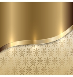 Gold texture background with curve line and floral vector
