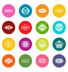golden labels icons many colors set vector image vector image