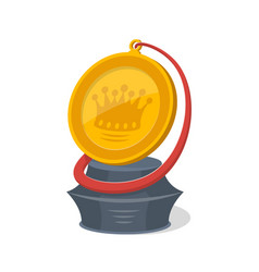 golden trophy cup of round shape vector image
