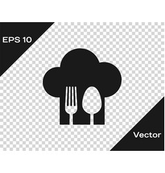 Grey chef hat with fork and spoon icon isolated on vector