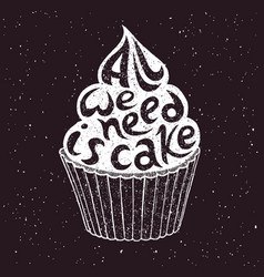 Hand drawn cupcake with text vector