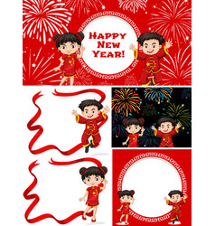 happy children and chinese new year vector image