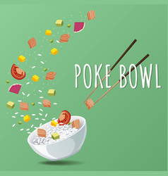 hawaiian poke salmon bowl with greens vector image