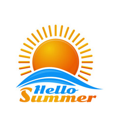 Hello summer sunrise logo icon vector