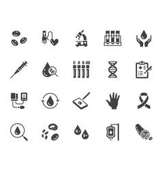 Hematology flat glyph icons set blood cell vector