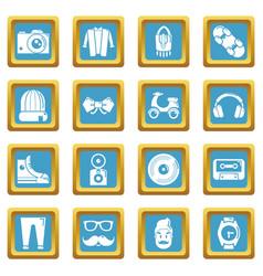 hipster symbols icons set sapphirine square vector image