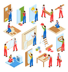 Home repair isometric set vector