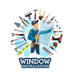 Installation windows installer and work tools vector