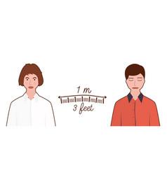 keep distance sign with man and woman coronovirus vector image
