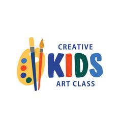 Kids art class flat logo creative vector