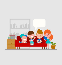 kids doing homework with friends vector image