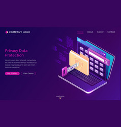 landing page privacy data protection gdpr vector image