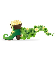 Leprechaun shoes with gold vector