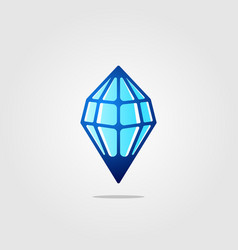 line art diamond ice stone drop logo icon vector image