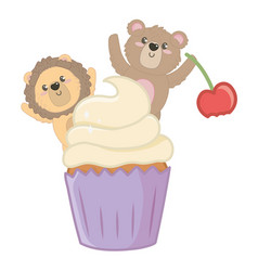Lion and bear cartoon with sweet food design vector