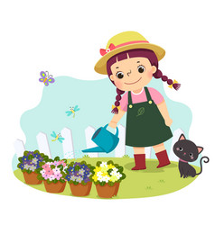 Little girl watering plant vector