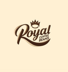 Logo royal coffee bean decorative elements crown vector