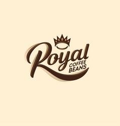 logo royal coffee bean decorative elements crown vector image