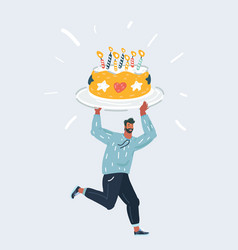 man holding a birthday big sweet cake with candles vector image