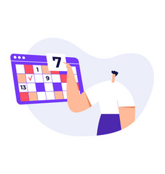 man modern character with big calendar timetable vector image