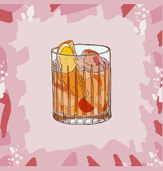 Old fashioned cocktail alcoholic bar drink hand vector