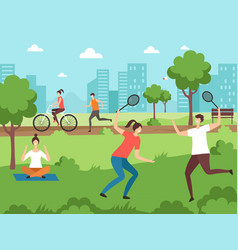 outdoor sport activities fitness people making vector image