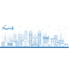 Outline newark new jersey city skyline with blue vector