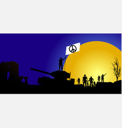 Peace flag with soldiers silhouette and tank vector