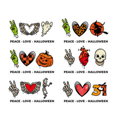 peace love halloween icons collection vector image