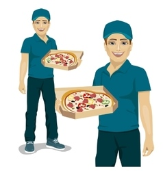 Pizza delivery courier offering pizza in box vector image