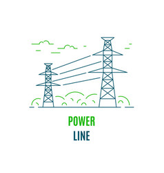 Power line electricity supply flat style icon vector