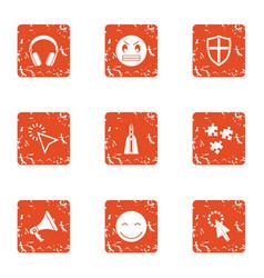 Raise spirit icons set grunge style vector