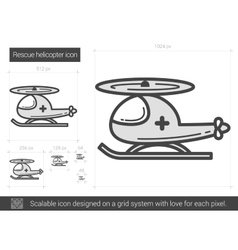 Rescue helicopter line icon vector