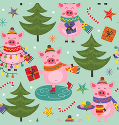 seamless pattern with christmas pig vector image
