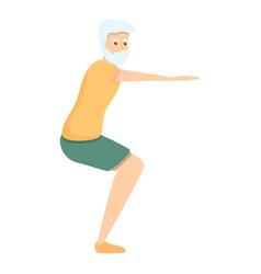 Senior man sit down exercise icon cartoon style vector