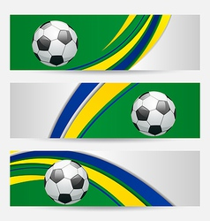 Set football cards in Brazil flag colors vector