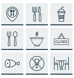 Set of 9 eating icons includes food mapping vector