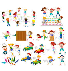 Set of children playing vector