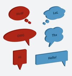 set of speech bubble icons 3d style vector image