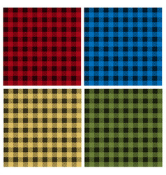 Set of umberjack plaid seamless patterns vector